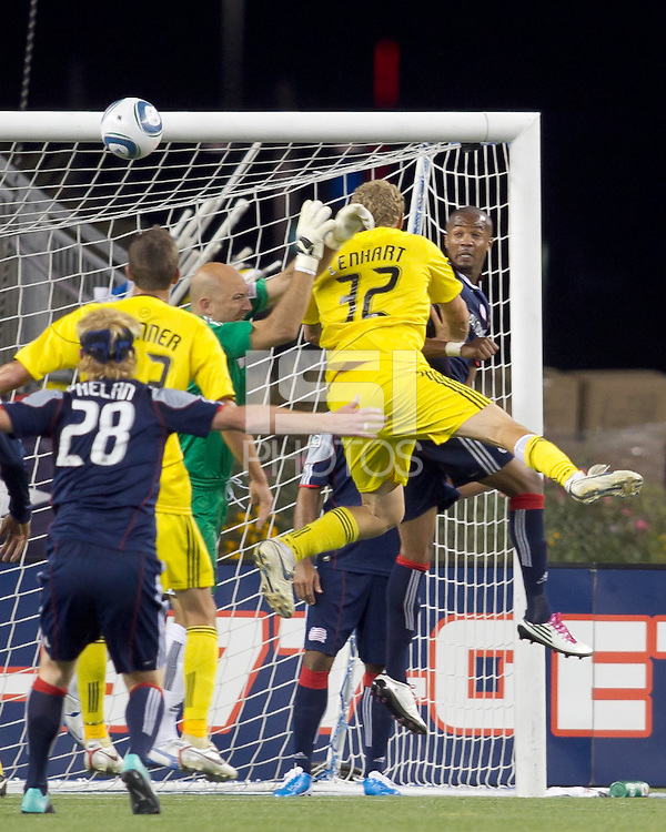 Columbus Crew forward Steven Lenhart (32) heads a corner kick towards the net. The New England Revolution tied Columbus Crew, 2-2, at Gillette Stadium on September 25, 2010.