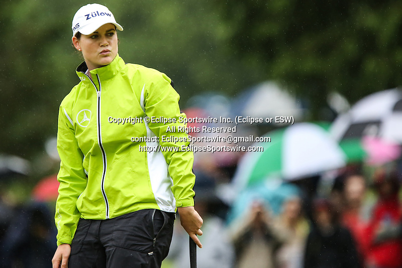 German's Caroline Masson watches her putt on the fifth hole during Round 2 of the LPGA Championship at Locust Hill Country Club in Pittsford, NY on June 8, 2013