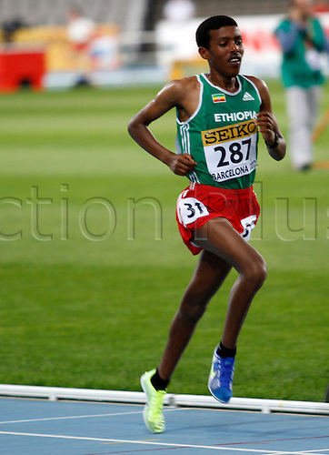 10.07.2012 Barcelona, Spain.10000 Meters winner Yingrem Demelash ETH in action during day one of the IAAF World Junior Championships from the Montjuic Stadium in Barcelona.