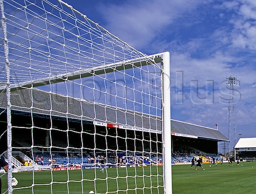 29 July 2001: General view of London Road Ground, home of Peterborough United taken from beside the goal. Photo: Neil Tingle/actionplus...010729 grounds nets venues stadiums soccer football stands