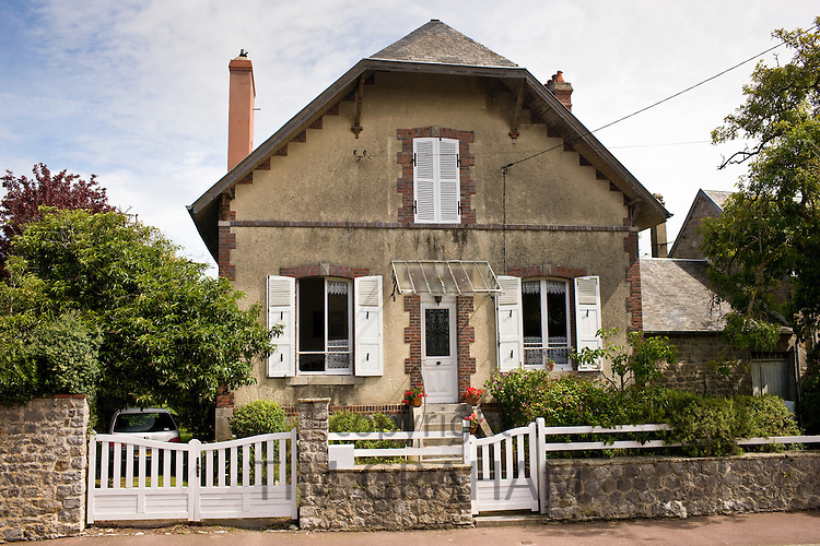Typical French house in Montmartin-Sur-Mer, Normandy, France
