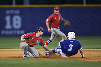 Tim Mansfield (3) of the High Point Panthers is tagged out by NJIT Highlanders second baseman Tom Brady (23) as he tries to steal second base during game two of a double-header at Williard Stadium on February 18, 2017 in High Point, North Carolina.  The Highlanders defeated the Panthers 4-2.  (Brian Westerholt/Four Seam Images)
