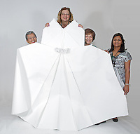 OrigamiUSA 2016 Convention at St. John's University, Queens, New York, USA. Oversized 9' x 9' paper folding zaevent. First timers. Left to right: unknown, unknown, Rachel Katz, NY, Nikki Chaudhari, NY.