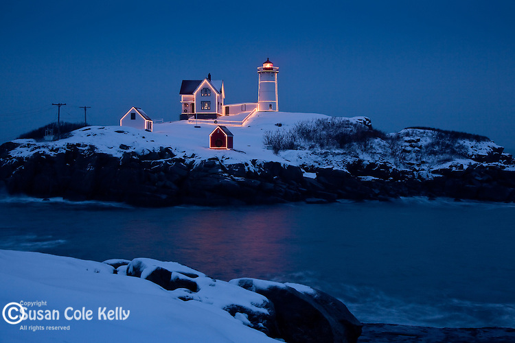 Christmas lights on Cape Neddick / Nubble Light in York, ME, USA