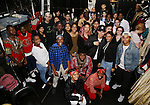 Cast member Okieriete Onaodowan with the students during the Gilder Lehman Institute of American History Education Matinee of 'Hamilton' at the Richard Rodgers  Theatre on November 2, 2016 in New York City.