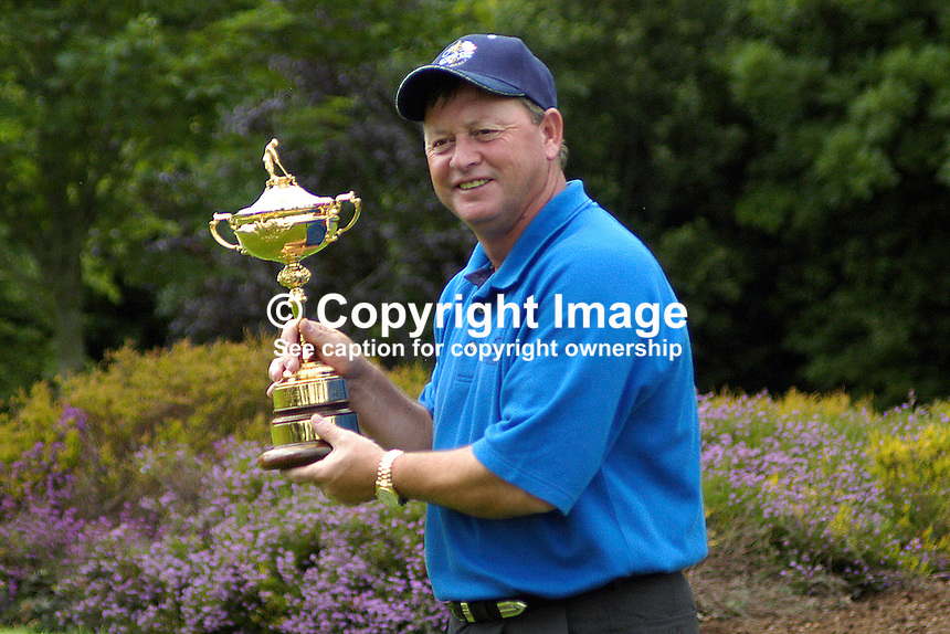 Ian Woosnam, who will captain the European Ryder Cup Team, poses with the Ryder Cup. Ref: 200506297093. This image was taken at the K Club, Co Kildare, Ireland, during the Smurfit European Open Golf Championship practice and Pro-Am days...Copyright Image from Victor Patterson, 54 Dorchester Park, Belfast, UK, BT9 6RJ..Tel: +44 28 9066 1296.Mob: +44 7802 353836.Voicemail +44 20 8816 7153.Skype: victorpattersonbelfast.Email: victorpatterson@mac.com.Email: victorpatterson@ireland.com (back-up)..IMPORTANT: If you wish to use this image or any other of my images please go to www.victorpatterson.com and click on the Terms & Conditions. Then contact me by email or phone with the reference number(s) of the image(s) concerned.