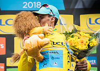 Picture by Alex Broadway/SWpix.com - 06/03/2018 - Cycling - 2018 Paris Nice - Stage Three - Bourges to Ch&acirc;tel-Guyon  - Luis Leon Sanchez of Astana Pro Team celebrates on the podium after taking the overall lead and the yellow jersey.<br /> <br /> NOTE : FOR EDITORIAL USE ONLY. THIS IS A COPYRIGHT PICTURE OF ASO. A MANDATORY CREDIT IS REQUIRED WHEN USED WITH NO EXCEPTIONS to ASO/Alex Broadway MANDATORY CREDIT/BYLINE : ALEX BROADWAY/ASO
