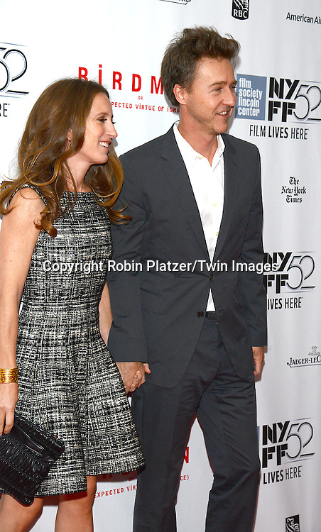 Edward Norton and wife Shauna Robertson attend &quot;Birdman or The Unexpected Virtue of Ignorance&quot; screening at The 52nd New York Film Festival on October 11, 2014 at Alice Tully Hall in New York City. <br /> <br /> photo by Robin Platzer/Twin Images<br />  <br /> phone number 212-935-0770