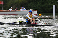 Race: 99  MasG.1x  Semi-Final<br /> 184  Toowong RC Australia (Gunningham)<br /> 185  Poplar Blackwall &amp; District Rowing Club (Milligan)<br /> <br /> Henley Masters Regatta 2018 - Friday<br /> <br /> To purchase this photo, or to see pricing information for Prints and Downloads, click the blue 'Add to Cart' button at the top-right of the page.