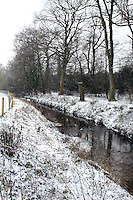 Hertfordshire - Snow scenes in Hertfordshire. Pictured - Snow covered stream near Letchworth - January 18th 2012..Photo by Keith Mayhew