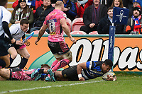 Cooper Vuna of Bath Rugby scores a first half try. Anglo-Welsh Cup Final, between Bath Rugby and Exeter Chiefs on March 30, 2018 at Kingsholm Stadium in Gloucester, England. Photo by: Patrick Khachfe / Onside Images