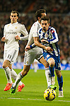 Real Madrid´s Alvaro Arbeloa and Deportivo de la Coruna's Isaac Cuenca during 2014-15 La Liga match between Real Madrid and Deportivo de la Coruna at Santiago Bernabeu stadium in Madrid, Spain. February 14, 2015. (ALTERPHOTOS/Luis Fernandez)