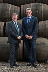 Diageo receives its accreditation as a Living Wage employer for it UK operations. Cabinet Secretary for Economy, Jobs &amp; Fair Work, Keith Brown MSP and David Cutter, President of Global Supply &amp; Procurement, Diageo. The barrel park, Alloa Cooperage, Diageo. 01 Sep 2017. <br /> Copyright photograph by Tina Norris. Not to be archived or reproduced without prior permission and payment. Contact Tina on 07775 593 830 info@tinanorris.co.uk www.tinanorris.co.uk http://tinanorris.photoshelter.com