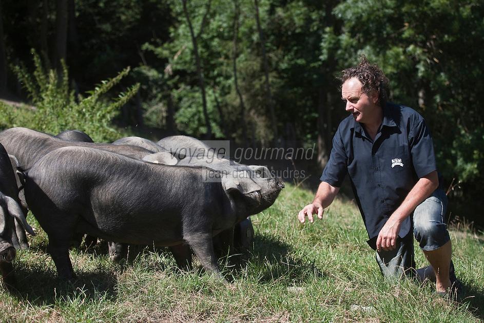 Europe/France/Midi-Pyrénées/65/Hautes-Pyrénées/Vignec: Jean-Michel Coustalat  dela Ferme Vignécoise dans son élevage porcin de porcs noirs de Bigorre  - Vallée d'Aure