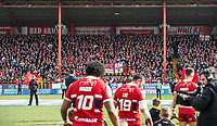 Picture by Allan McKenzie/SWpix.com - 30/03/2018 - Rugby League - Betfred Super League - Hull KR v Hull FC - KC Lightstream Stadium, Hull, England - Players come onto the field with their mascots, fans, supporters.