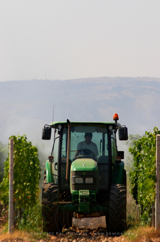 A vineyard tractor spraying with treatment for diseases between the rows of vines. Vineyard on the plain near Mostar city. Hercegovina Vino, Mostar. Federation Bosne i Hercegovine. Bosnia Herzegovina, Europe.