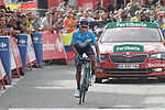 Nairo Quintana (COL) Movistar Team loses more time as he crosses the finish line on the final climb of Stage 19 of the La Vuelta 2018, running 154.4km from Lleida to Andorra, Naturlandia, Andorra. 14th September 2018.                   <br /> Picture: Colin Flockton | Cyclefile<br /> <br /> <br /> All photos usage must carry mandatory copyright credit (© Cyclefile | Colin Flockton)