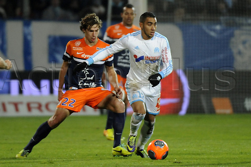 29.11.2013. Marseilles, France. French League 1 football. Marseilles versus Montpellier.  Stambouli (MHSC) - Payet (OM)