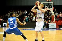 36 KM<br /> GRONINGEN - Basketbal, Donar - Landstede Martiniplaza, Dutch Basketbal League, seizoen 2018-2019, 06-12-2018, Donar speler Jobi Wall met Landstede speler Sherron Dorsey-Walker