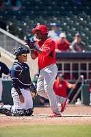 Springfield Cardinals infielder Elehuris Montero (43) crosses the plate after hitting a home run on May 19, 2019, at Arvest Ballpark in Springdale, Arkansas. (Jason Ivester/Four Seam Images)