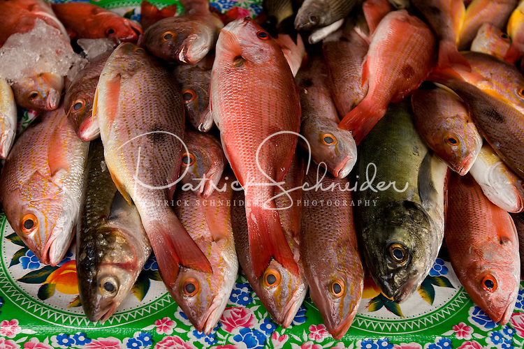 Fresh-caught fish are among the many offerings sold in the markets of Petatlan, in the state of Guerrero, Mexico, which is about 30 minutes from Zihuatanejo/Ixtapa. . .. (Photos taken August 2007) PHOTOS BY: PATRICK SCHNEIDER PHOTO.COM