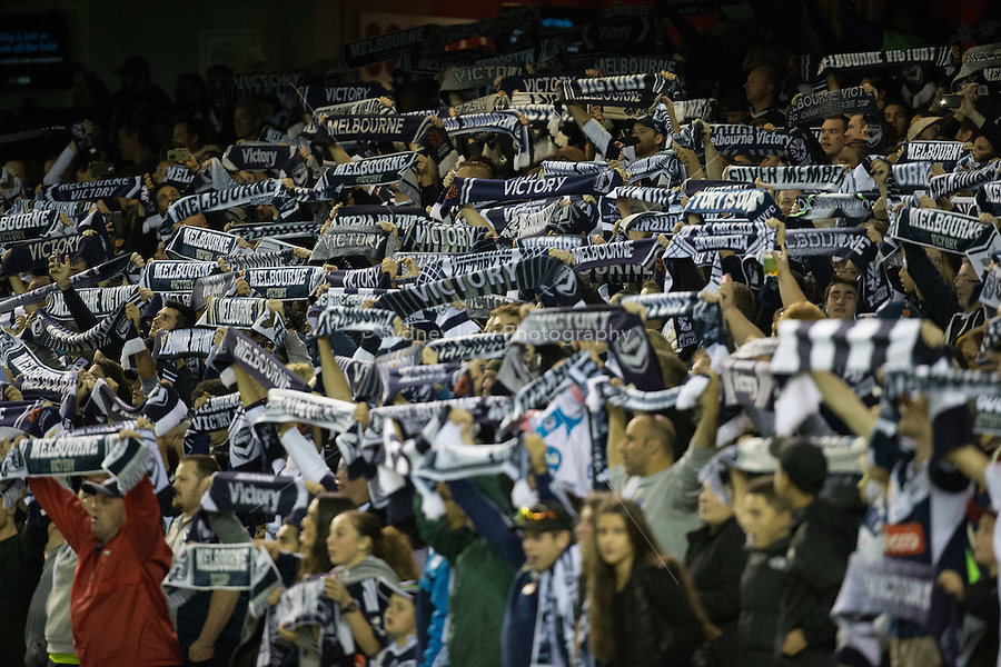 Melbourne Victory supporters cheer on their team in the semi final match between Melbourne Victory and Melbourne City in the Australian Hyundai A-League 2015 season at Etihad Stadium, Melbourne, Australia.<br /> This photo is not for sale. Contact zumapress.com for editorial licensing.