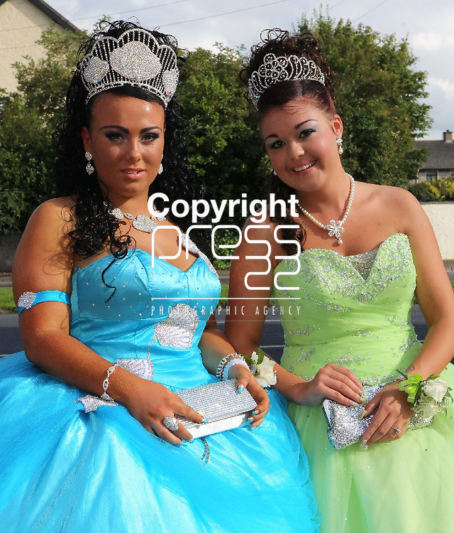 8/August/2012   Megan Collins(18), 35 Hyde road, Limerick going to the Scoil Carmel Debs with her friend Jane McCarthy(17) from 34 Ballyclough Avenue, Weston, Limerick.. Photograph Liam Burke/Press 22