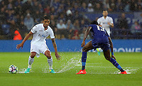 Pictured (L-R): Kyle Naughton of Swansea City against Daniel Amartey of Leicester City Saturday 27 August 2016<br /> Re: Swansea City FC v Leicester City FC Premier League game at the King Power Stadium, Leicester, England, UK