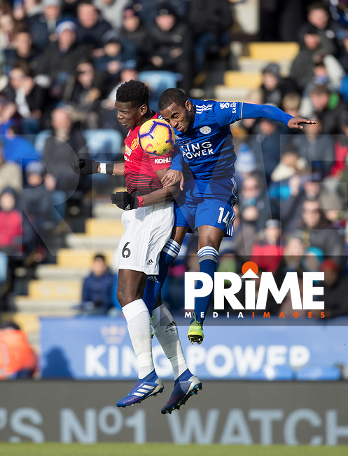 Paul Pogba of Man Utd & Ricardo Pereira of Leicester City during the Premier League match between Leicester City and Manchester United at the King Power Stadium, Leicester, England on 3 February 2019. Photo by Andy Rowland.