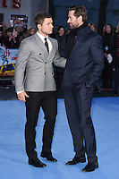 "Taron Egerton and Hugh Jackman<br /> at the ""Eddie the Eagle"" European premiere, Odeon Leicester Square London<br /> <br /> <br /> ©Ash Knotek  D3099 17/03/2016"