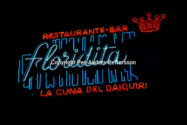A neon sign outside La Floridita, a popular drinking place for Ernest Hemingway during his stay on Cuba on July 6, 1993 in central Havana, Cuba. Fidel Castro has ruled the communist island for over 4 decades and been in war of words with the United States all since then. They country has a good eduacation and medical level but lacks freedom of the press and speech. .(Photo: Per-Anders Pettersson/ Getty Images)
