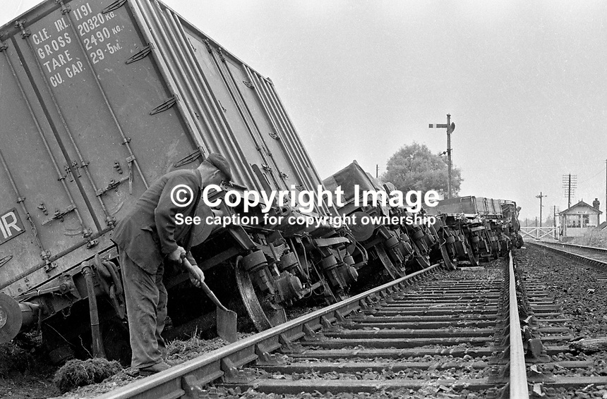 Rail crash of a goods train following an explosion on the main Belfast to Dublin railway line between Portadown and Lurgan. 197207000423<br />