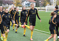 20191107 - Zapresic , BELGIUM : Belgian Justine Vanhaevermaet (middle) pictured during a Matchday -1 training session before a  female soccer game between the womensoccer teams of  Croatia and the Belgian Red Flames , the third women football game for Belgium in the qualification for the European Championship round in group H for England 2021, Thursday 7 th october 2019 at the NK Inter Zapresic stadium near Zagreb , Croatia .  PHOTO SPORTPIX.BE | DAVID CATRY