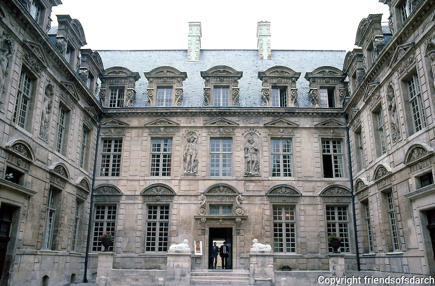 "Paris: Hotel de Bethune-Sully. Inner courtyard, 1624. ""An outstanding Louis XIII group""--figures represent elements and seasons. Photo '87."