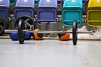 Gewichte stehen zum Training der Basketballer bereit - 20.02.2018: Deutsche Nationalmannschaft bereitet sich auf das WM-Quali-Spiel gegen Serbien vor, Fraport Arena Frankfurt