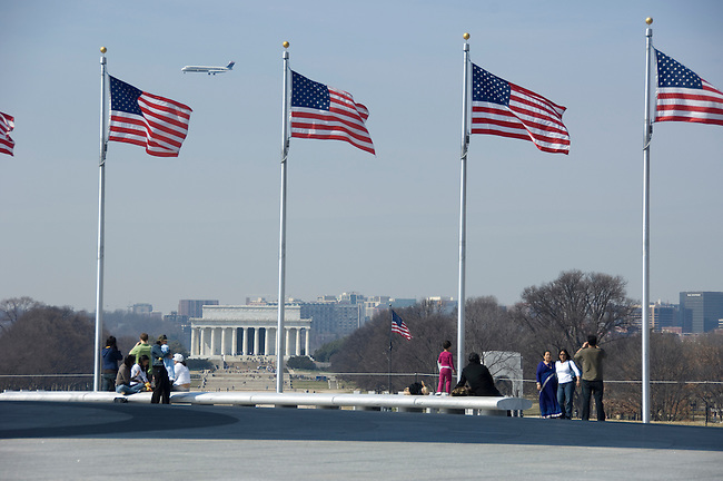 Washington D. C., view of the Lincoln Memorial from the Washington Monument, not released