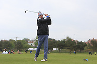 Mark Williams (AM) playing with Paul Dunne (IRL) on the 10th tee during the Pro-Am of the Betfred British Masters 2019 at Hillside Golf Club, Southport, Lancashire, England. 08/05/19<br /> <br /> Picture: Thos Caffrey / Golffile<br /> <br /> All photos usage must carry mandatory copyright credit (© Golffile | Thos Caffrey)