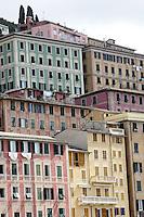 Dettaglio dei caratteristici alti palazzi di Camogli.<br /> Detail shot of the typical tall houses of Camogli,<br /> UPDATE IMAGES PRESS/Riccardo De Luca