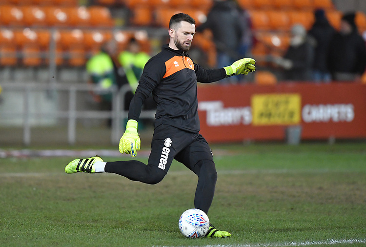 Blackpool's Mark Howard<br /> <br /> Photographer Dave Howarth/CameraSport<br /> <br /> The EFL Sky Bet League One - Blackpool v Doncaster Rovers - Tuesday 12th March 2019 - Bloomfield Road - Blackpool<br /> <br /> World Copyright © 2019 CameraSport. All rights reserved. 43 Linden Ave. Countesthorpe. Leicester. England. LE8 5PG - Tel: +44 (0) 116 277 4147 - admin@camerasport.com - www.camerasport.com