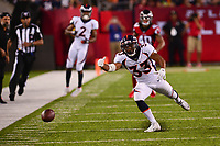 Canton, Ohio - August 1, 2019: A pass to Denver Broncos running back Khalfani Muhammad #33 is ruled incomplete during a pre-season game against the Atlanta Falcons at the Tom Benson Hall of Fame stadium in Canton, Ohio August 1, 2019. This game marks start of the 100th season of the NFL. (Photo by Don Baxter/Media Images International)