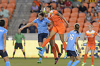 Houston, TX - Friday April 29, 2016: Poliana (2) of the Houston Dash wins a header over Erica Skroski (8) of Sky Blue FC at BBVA Compass Stadium. The Houston Dash tied Sky Blue FC 0-0.