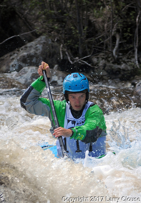 June 8, 2017 - Vail, Colorado, U.S. - C-1 paddler, Tad Dennis, looks downstream on Homestake Creek's upper section in the Steep Creek competition during the GoPro Mountain Games, Vail, Colorado.  Adventure athletes from around the world meet in Vail, Colorado, June 8-11, for America's largest celebration of mountain sports, music, and lifestyle.