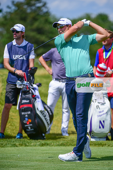Peter Uihlein (USA) watches his tee shot on 12 during Thursday's round 1 of the 117th U.S. Open, at Erin Hills, Erin, Wisconsin. 6/15/2017.<br /> Picture: Golffile   Ken Murray<br /> <br /> <br /> All photo usage must carry mandatory copyright credit (&copy; Golffile   Ken Murray)