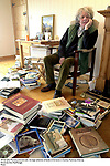 Writer John Moriarty pictured with  his large collection of books at his home in Coolies, Muckross, Killarney.<br /> Picture by Don MacMonagle