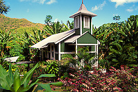 Historic Jerusalema Hou Church sits in the midst of lush vegetation in Halawa Valley on the island of Molokai.