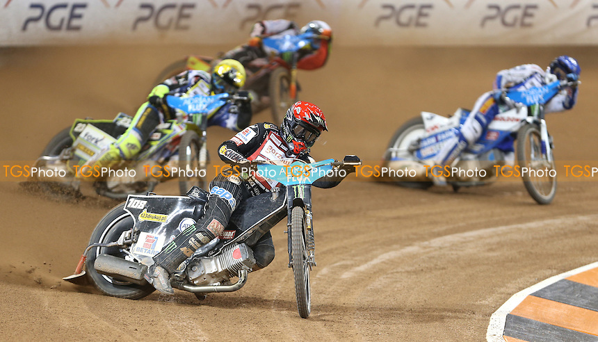 Heat 5: Tai Woffinden (red), Chris Holder (yellow),  Nicki Pedersen (blue) and Jepsen Jensen (white) - British Speedway Grand Prix at the Millennium Stadium, Cardiff - 04/07/15 - MANDATORY CREDIT: Rob Newell/TGSPHOTO - Self billing applies where appropriate - 0845 094 6026 - contact@tgsphoto.co.uk - NO UNPAID USE