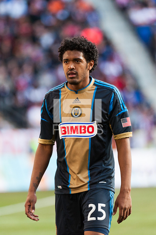 Sheanon Williams (25) of the Philadelphia Union. The New York Red Bulls defeated the Philadelphia Union 2-1 during a Major League Soccer (MLS) match at Red Bull Arena in Harrison, NJ, on March 30, 2013.