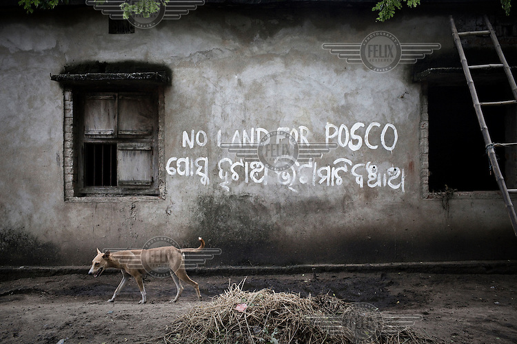"Anti-Posco graffiti on the wall of a house in Dhinkia village. All the residents of this village would be displaced if plans for the new steel works are allowed to proceed. South Korean steel giant Posco continues to face stiff public resistance in Orissa's Jagatsinghpur district where the company is setting up India's biggest direct foreign investment project of a 12 million tonne steel plant, at the cost of USD 12 Billion. Villagers have formed an agitating group, ""Posco Pratirdh Sangram Samiti"" to oppose the construction of the Posco development, which will displace thousands of people and make agricultural land untenable."