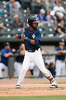 Second baseman Luis Carpio (11) of the Columbia Fireflies bats in a game against the Charleston RiverDogs on Monday, August 7, 2017, at Spirit Communications Park in Columbia, South Carolina. Columbia won, 6-4. (Tom Priddy/Four Seam Images)