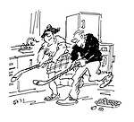 (man and woman playing ice hockey in kitchen)